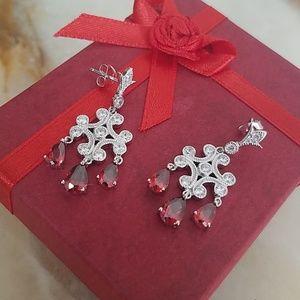 Dangling Coral Chandelier Earrings